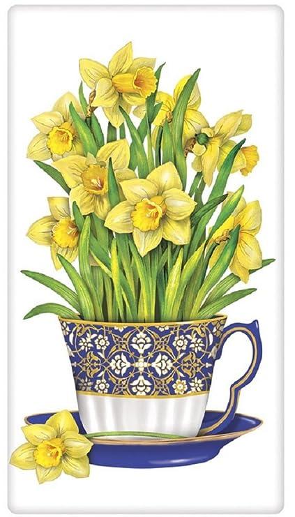 Harina Saco Toalla diseñado por Mary Lake Thompson – taza, diseño de narcisos