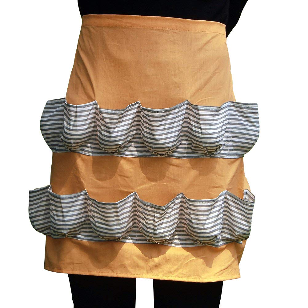 Chicken Egg Apron Bib Kitchen Workwear Waist Tool Aprons Cotton Eggs Gathering Collecting Utlity Work Shop Aprons Multi-Use Garden Apron with 12 Pockets for Women Girls WQ06 (Orange stripe) by ZhuoLang (Image #1)