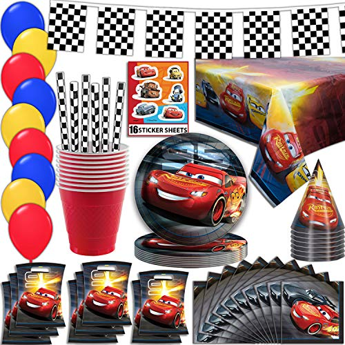 Disney Cars Party Supplies, Serves 16 - Plates, Napkins, Tablecloth, Cups, Straws, Balloons, Loot Bags, Stickers, Birthday Hats, Flag Banner - Full Tableware, Decorations, Favors for -