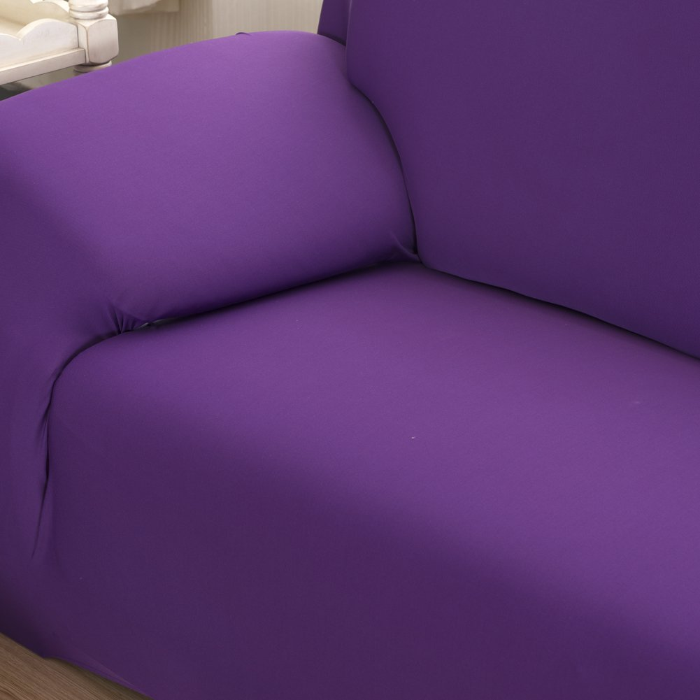 Vipeco Slipcover Stretchable Pure Color Sofa Cushion Covers (Loveseat Purple) by Vipeco (Image #5)
