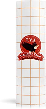 Medium Tack T.Y.J Transfer Tape for Vinyl Paper Roll 12 x 16 FT Clear w//Dark Yellow Alignment Grid Perfect for Cricut Cameo Silhouette Self Adhesive Oracal for Signs Crafts Stickers Decals