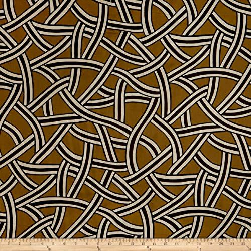 Max Mara Italian Designer Silk Mustard/Brown/White/Black Fabric by the Yard (Max And Mara)