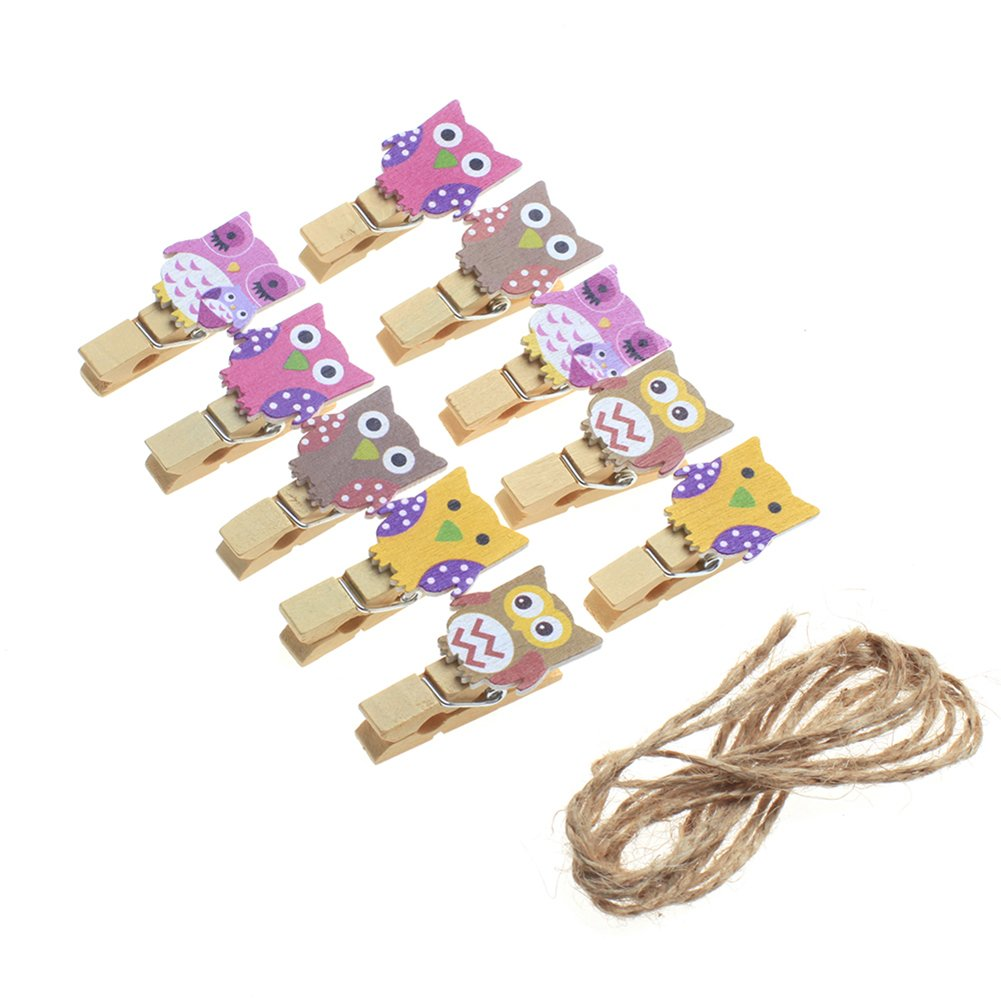 Freedi Owl Wooden Clothespins Postcard Photo Clothes Paper Peg Pin Clips Party Decor Craft Supplies,Pack of 10