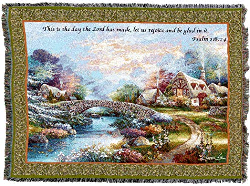 Pure Country Weavers | Springtime Glory Woven Tapestry Throw Blanket with Fringe Cotton USA 72x54
