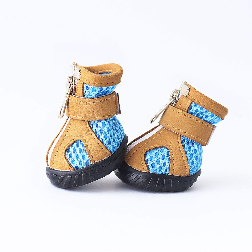 bluee Summer Breathable Puppy shoes Sandals Poodle Than Bear shoes Non-Slip Pet shoes Foot Cover (color   bluee)