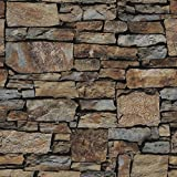 Birwall Faux Rustic Brick Stone Wallpaper Wall Paper for Livingroom Kitchen Bedroom,20.8 In32.8 Ft=57 Sq.ft (68032)