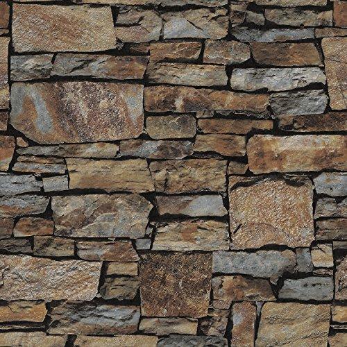 Birwall Faux Rustic Brick Stone Wallpaper Wall Paper for Livingroom Kitchen Bedroom,20.8 In32.8 Ft=57 Sq.ft (68032)
