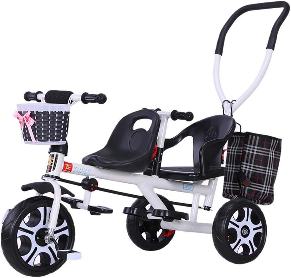 D-JIU Tricycle Double Poussette Double pour Enfants avec Poussette arri/ère Peut sasseoir et sallonger Peut Monter /à Double Tricycle Jumeaux v/élo b/éb/é 1-3-7 Ans b/éb/é