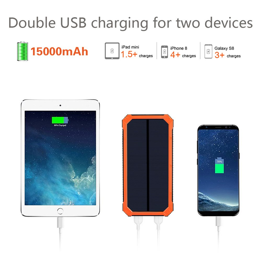 Solar Charger Friengood 15000mAh Portable Solar Power Bank Dual USB Ports Solar Phone Battery Charger with 6 LED Flashlight Light for iPhone, iPad, Samsung and More (Orange) by Friengood (Image #2)