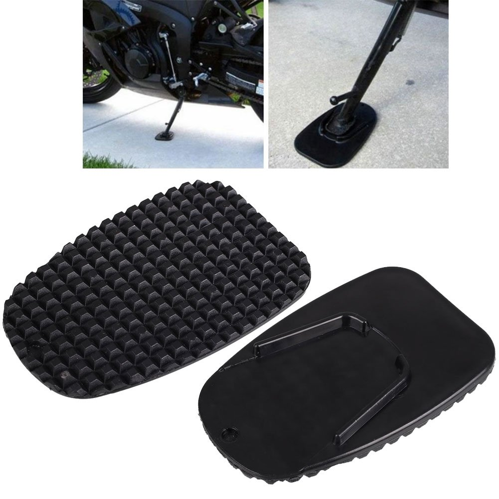 Sedeta Motorcycle bracket plate Motor bike Side Kickstand Non-Slip Plate Base Parking Stand Support Plastic Pad fo Pedal Anti-skid support Motorcycle base Anti-skid plate Stability and strong Plastic