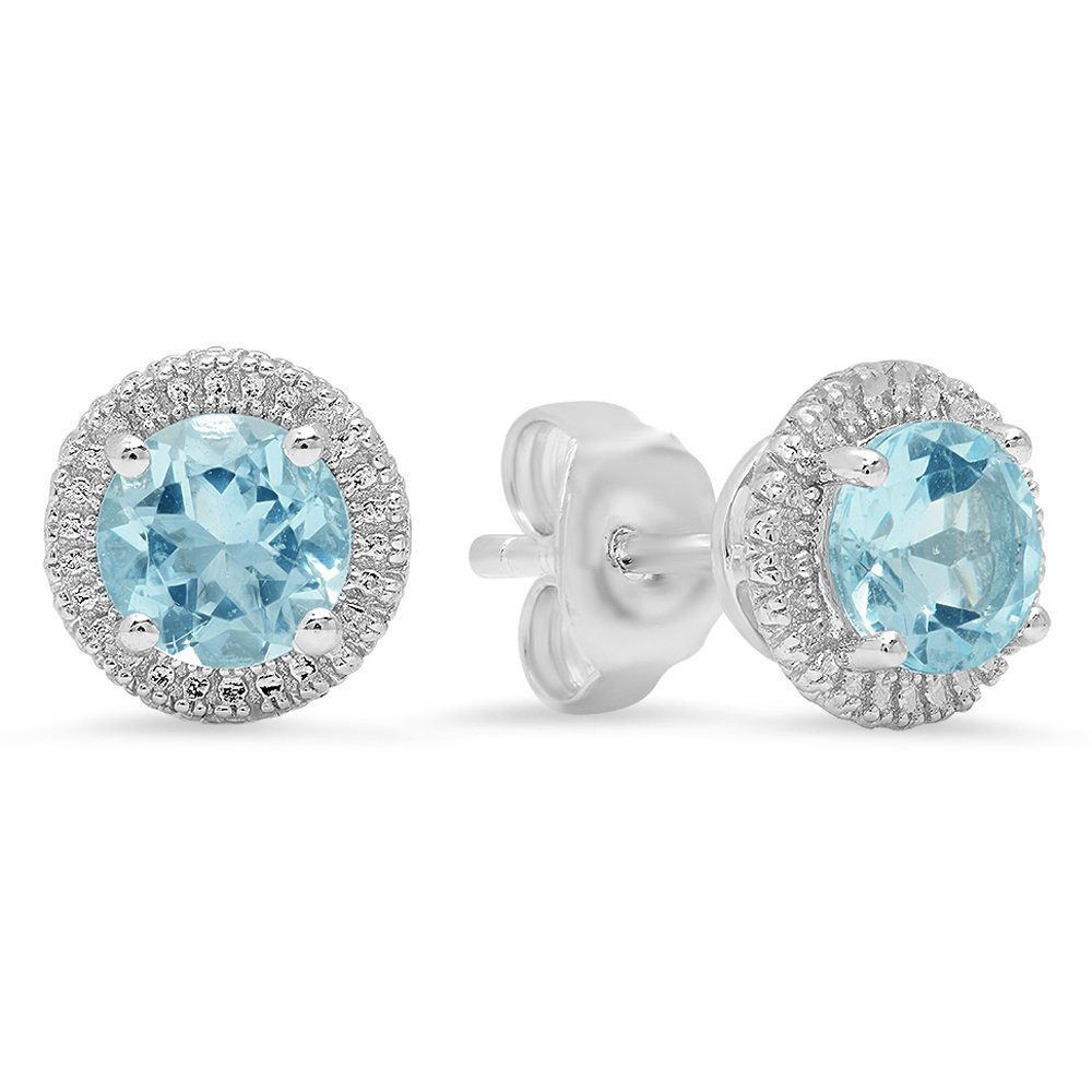 Sterling Silver Round Cut Aquamarine Ladies Stud Earrings Stone size is 5mm