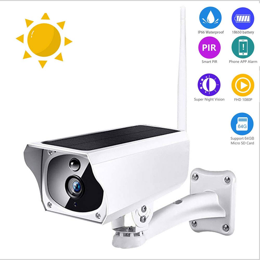 Outdoor Wireless Solar Surveillance Camera, HD 1080P Night Vision Waterproof WiFi IP Camera Solar Powered Bullet Security Camera with Motion Detection for Android and iOS by EZ_SMART