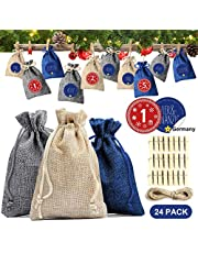 Small Gift Bags 24Pcs, Jute Drawstring Pouch Blue/Gray/Linen Burlap Bag with Advent Calendars 2019 Stickers/Clips/Rope, Small Hessian Sack for Holiday Christmas Party Wedding Favour Gift Bags Decor