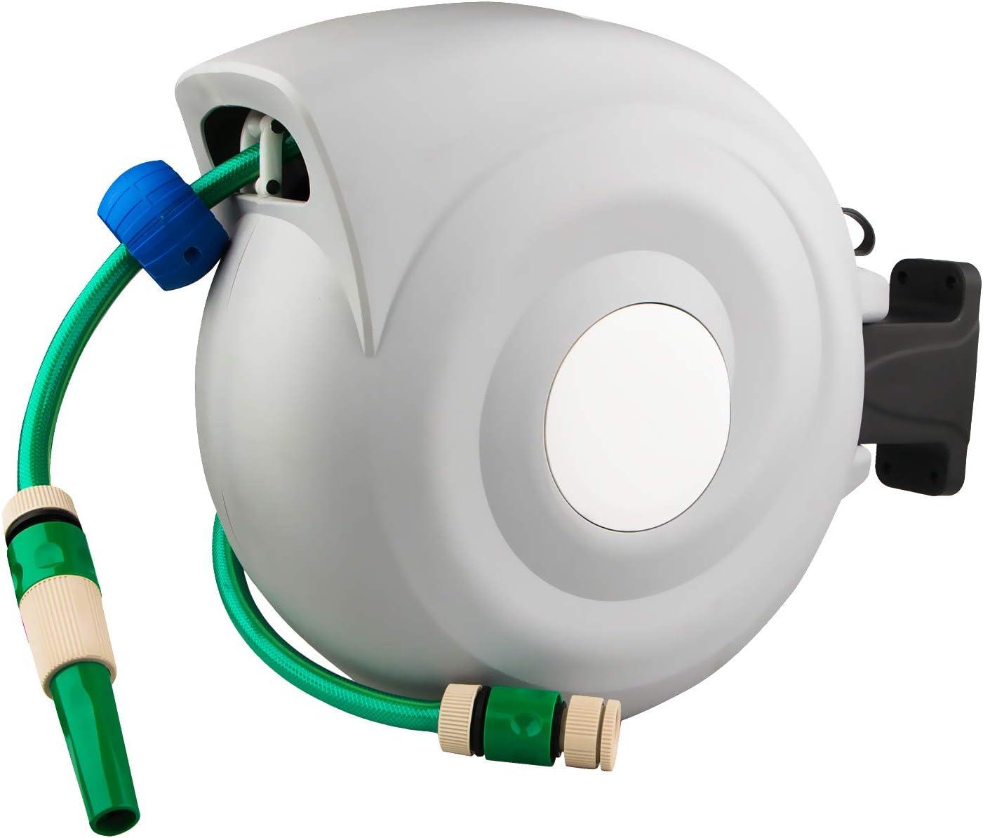 "Toolwiz Garden Hose Reel, Retractable Hose Reel 3/4"" x 65+6.5 FT, Water Hose with 3 Adjustable Water Sprayer Gun Hybrid Hose Automatic Rewind & Wall Mount"