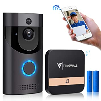 Timbre wifi inalámbrico TENSWALL con visualización de video HD en 720P. Cámara de seguridad,