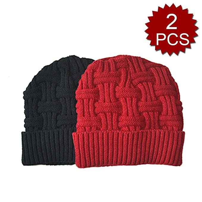 7419d5b1eecae Opromo 2 PCS Mens Winter Knitting Wool Warm Hat Daily Slouchy Hats Beanie