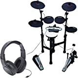 Carlsbro CSD130 Electronic Drum Set with Realistic Kick Pedal + Over-Ear Stereo Headphones - Top Value Bundle!