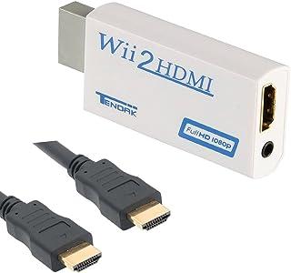 Thlevel Wii vers HDMI Adaptateur Wii Convertisseur HDMI avec Câble sur HDMI et sortie audio Extra Prise 3,5 mm pour Wii moniteur projecteur Téléviseur