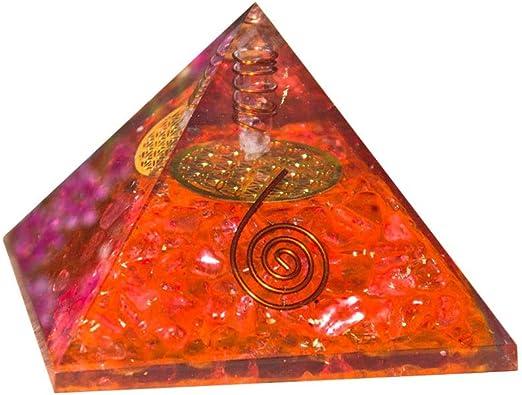 Natural Crystal Red Onyx Orgone Pyramid Energy Generator EMF Protection Gemstone Chakra Pyramid