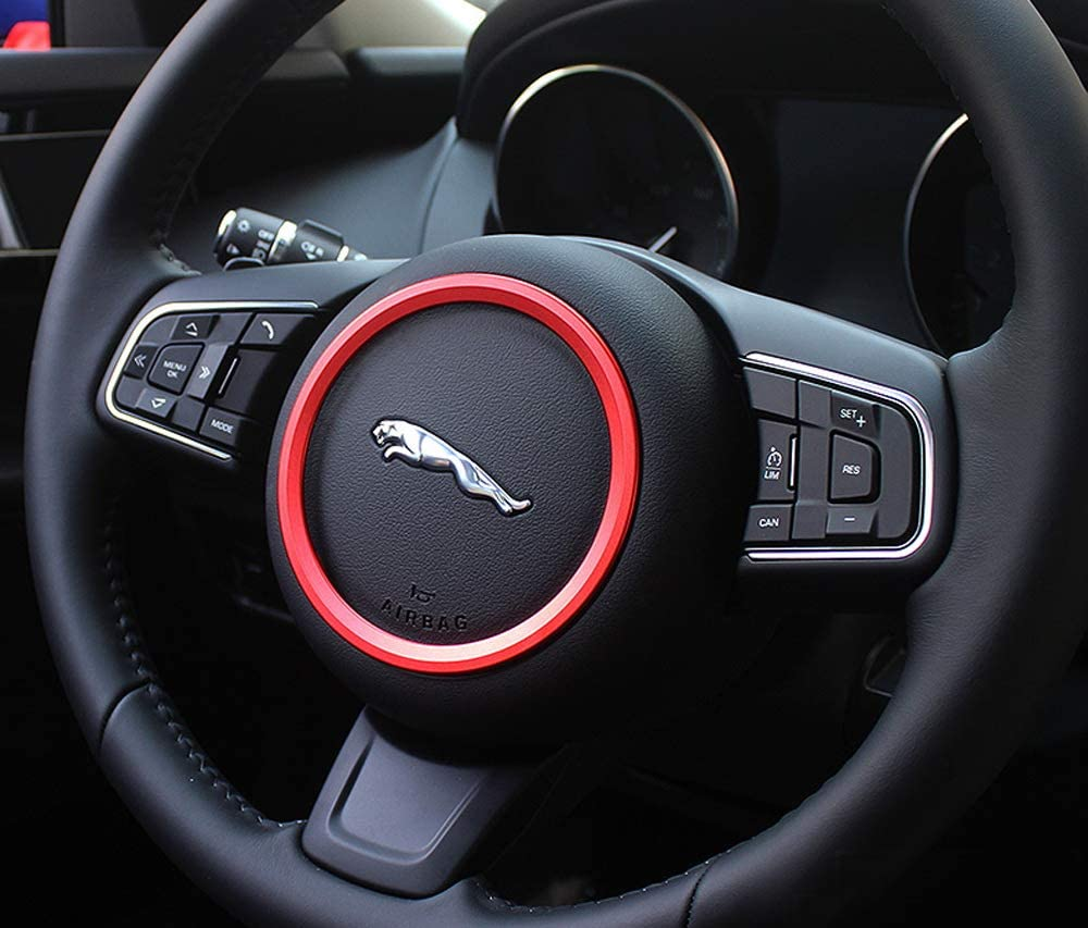 iJDMTOY Red Aluminum Steering Wheel Center Decoration Ring Cover Trim Compatible With Jaguar F-Pace E-Pace XE XF 1
