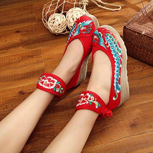 Mary Compensées Chaussures Janes Femme Fleuries Traditionnelles Sk Ballerines Rouge Brodée Studio Espadrilles 6CnUqwBOxA