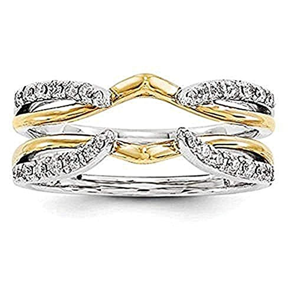 1/4 ct Simulated Diamond Enhancer Solitaire Engagement Ring 14k Two Tone Gold Plated Guard Wrap Jacket Solid 925 Sterling Silver