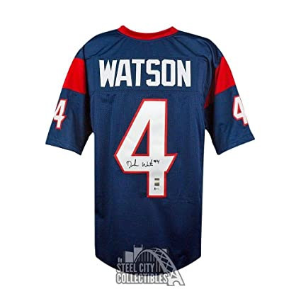 17c3fcb08 Deshaun Watson Autographed Signed Houston Texans Custom Navy Football  Jersey - Signature - Beckett Authentic at Amazon's Sports Collectibles Store