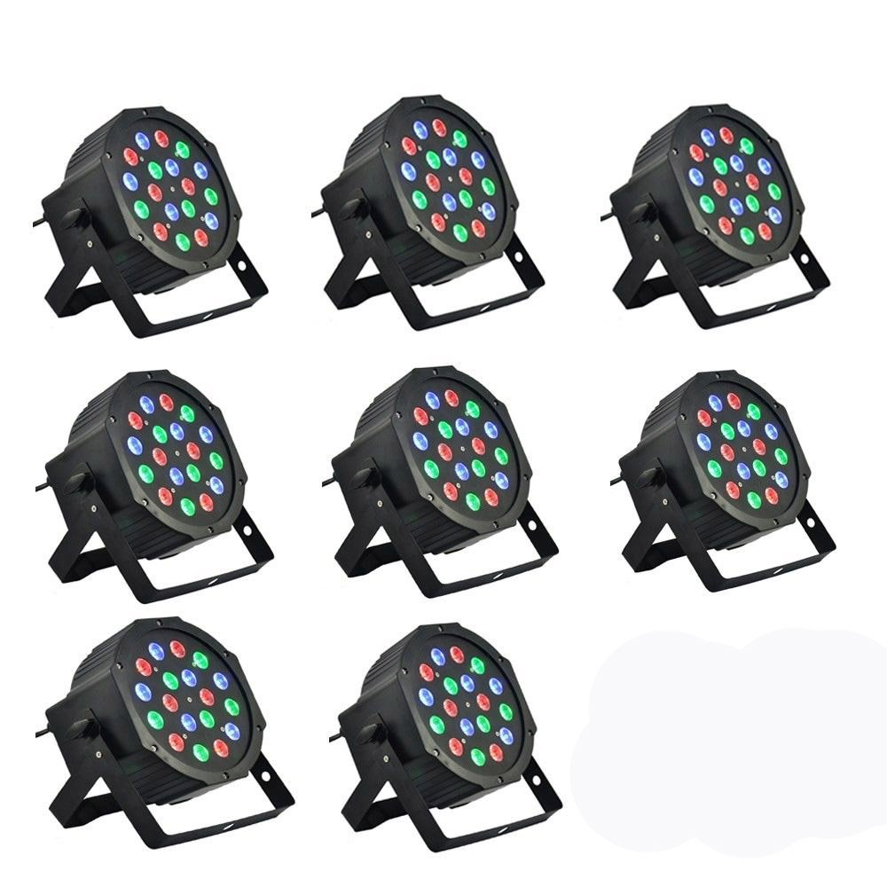 Southern Chem 8 Piece Up-Lighting - Full RGB Color Mixing LED Flat Par Can - 18 LEDs per light - Red, Green and Blue color mixing - Up-Lighting - Stage Lighting - Dance Floor Lighting