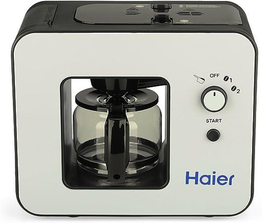 Haier SKL - D003 Máquina de Café con Molinillo Incorporado y Placa de Calentamiento (Cafetera Automática, Diseño Elegante, 4 Tazas, Acero Inoxidable) (Negro y Blanco): Amazon.es: Hogar
