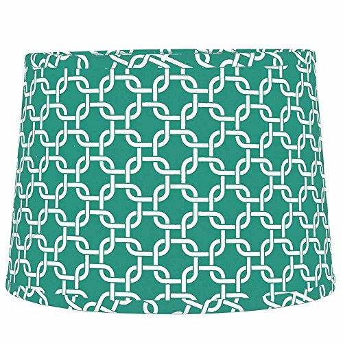 Home Collection by Raghu Seafoam and White Greek Key Regular Clip Drum Lampshade, - Accent Greek Lamp Key