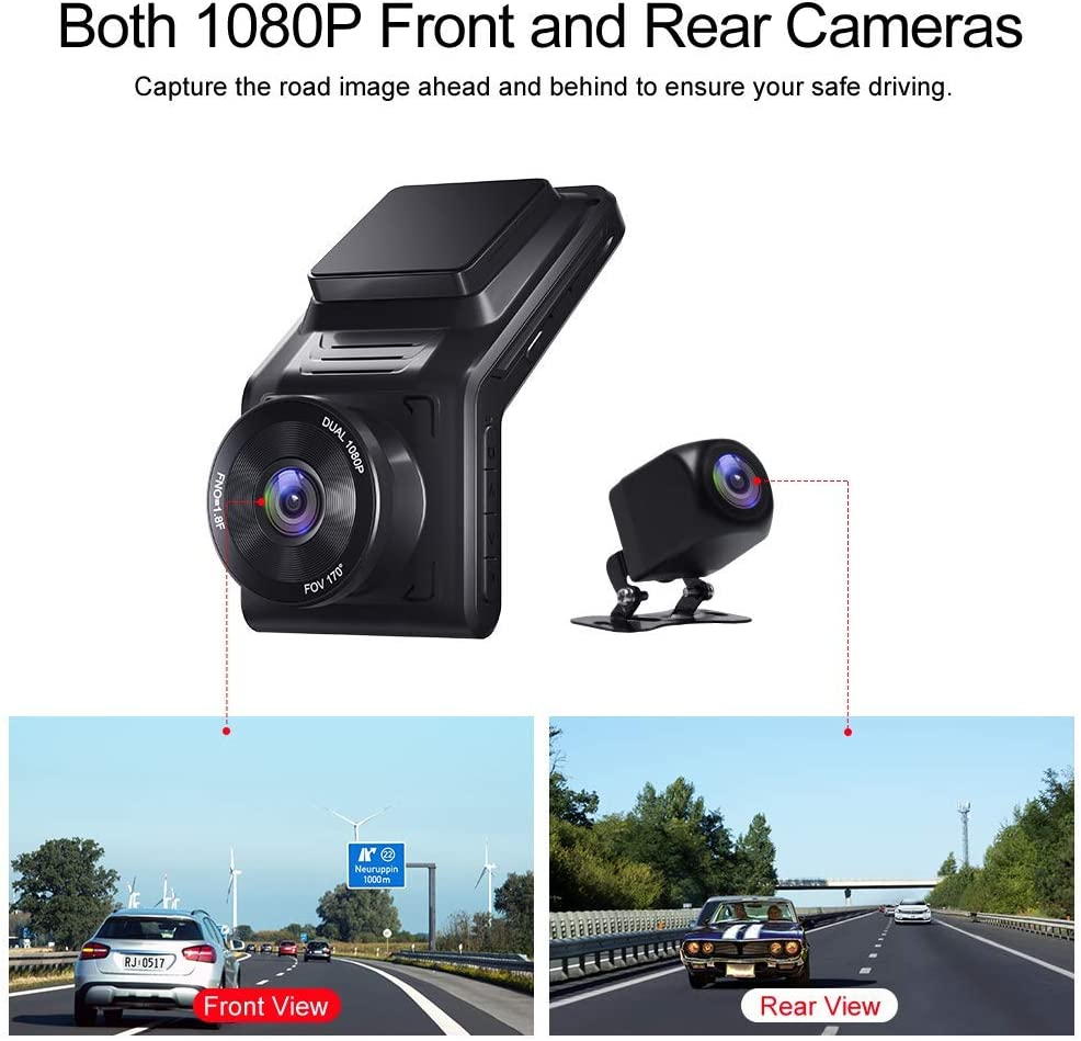 AKASO 2K Dash Cam Front and Rear 1080P Dual Dash Cam with 32 GB TF Card G-Sensor External GPS 170/°Wide Angle Night Vision Wi-Fi Parking Mode Loop Recording 2 IPS Screen