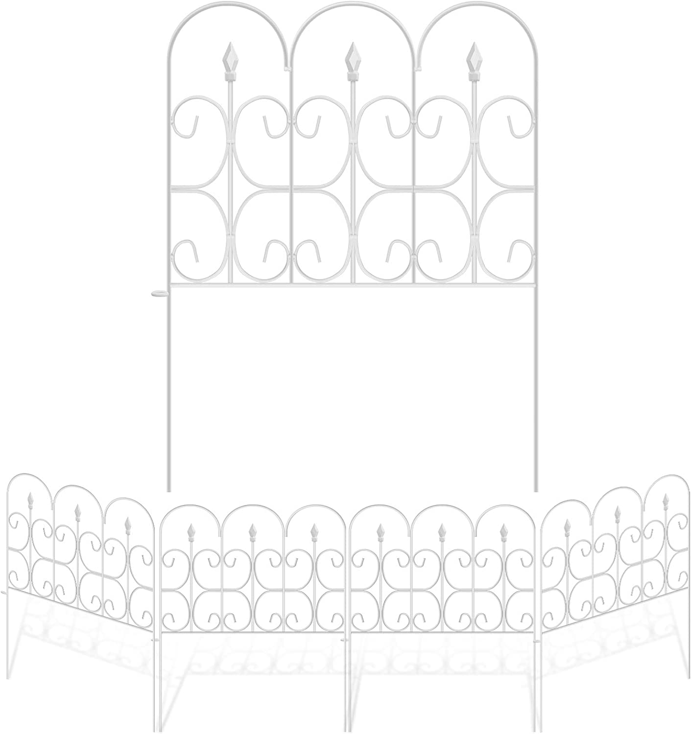 Amagabeli Decorative Garden Fence Outdoor 32in x 10ft White Coated Metal Rustproof Landscape Wrought Iron Wire Border Folding Patio Fences Flower Bed Fencing Barrier Section Panels Decor Picket Edging