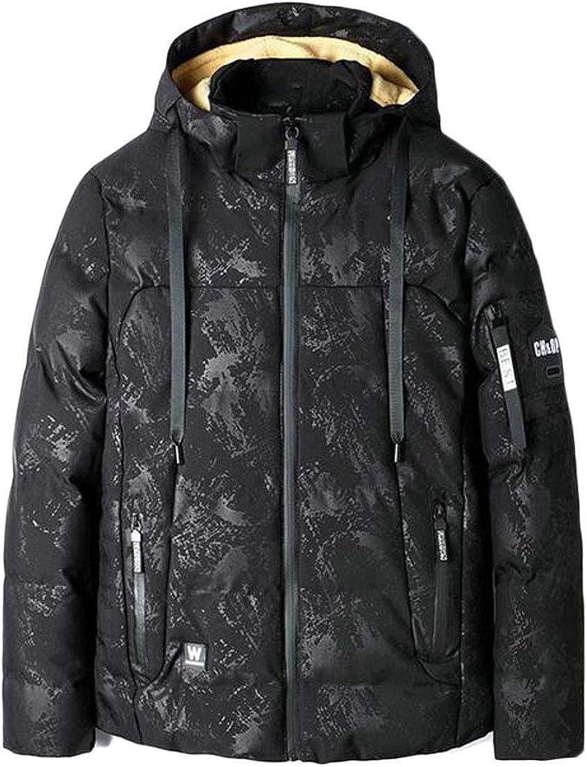 XXBlosom Mens Overcoat Winter Hooded Fleece Lined Warm Parka Jackets Coat