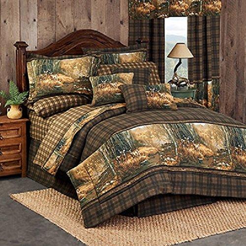 Whitetail Birch 9 Piece King Comforter Set (1 Comforter, 1 Flat Sheet, 1 Fitted Sheet, 2 Pillow Cases, 2 Shams, 1 Bedskirt, 1 Square Pillow) - Deer Woods Birch Tree Bedding Bedroom Cabin Lodge Decor (Sham Birch)