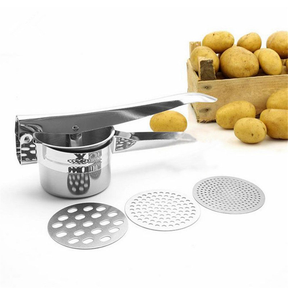 HuiHui Decoration Potato Masher Stainless Steel Mashed Potato Ricer Masher Machine with 3 Interchangeable Disks