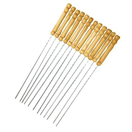 Evalue 12Pieces Barbecue Skewers Set Stainless Steel Grill Stick Needles Kabob Sticks