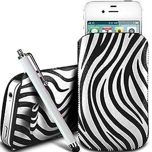 Online-Gadgets UK - Nokia Asha 502 Dual Sim protección PU Zebra Diseño deslizamiento cordón tirador de la cremallera en la caja de la bolsa con cierre rápido y grande Stylus Pen - Blanco