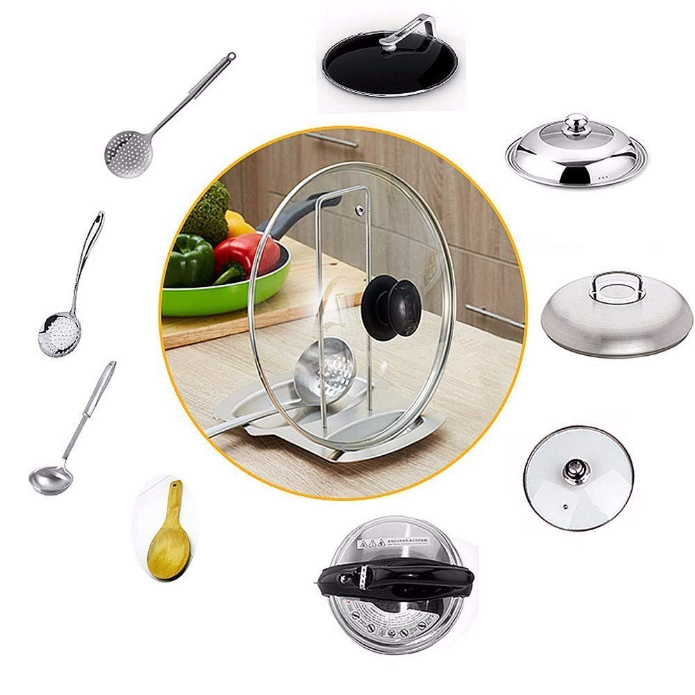 Eulan Lid And Spoon Rest Stainless Steel Pan Pot Lid Holder Spoon Holder Stand Organizer Pan Pot Rack Cover for Kitchen