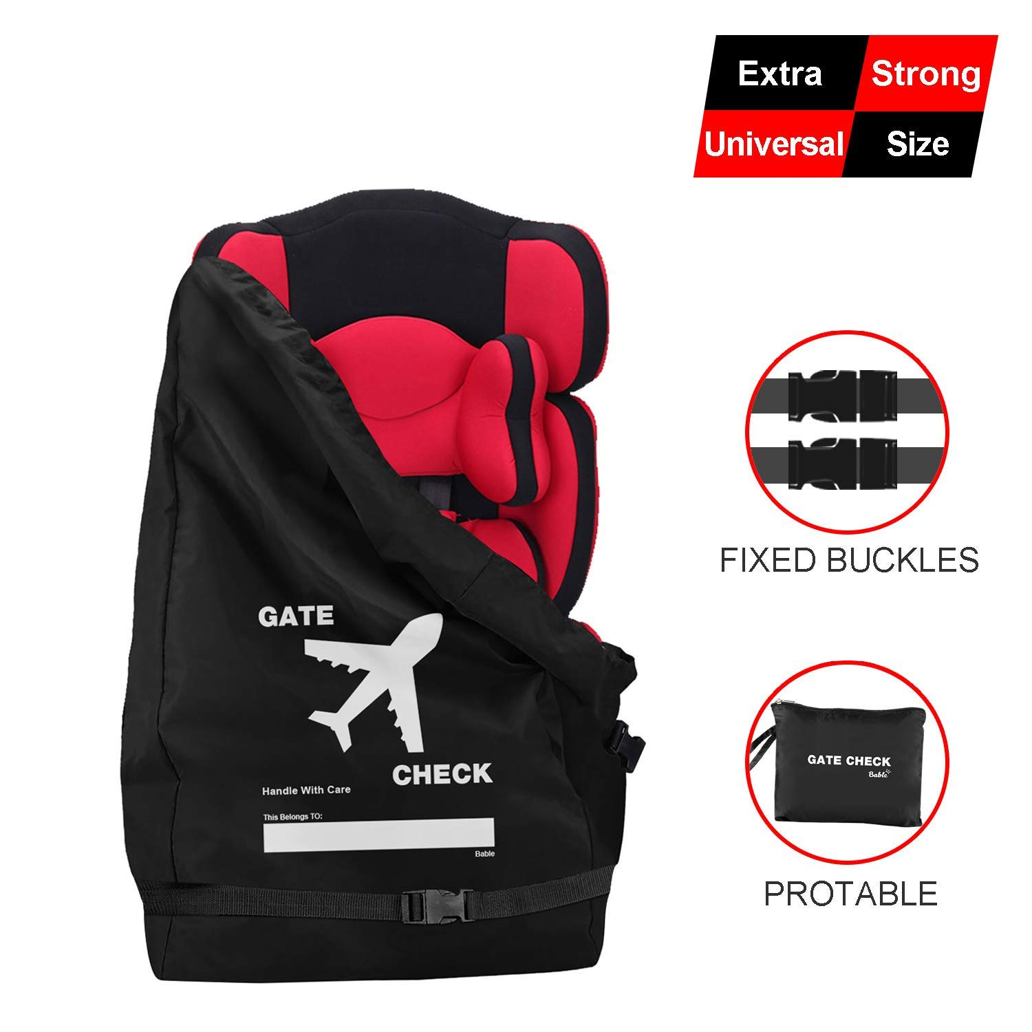 Bable Car Seat Travel Bag, Universal Size Car Seat Cover, Increase Space and Thickness, for Airport Gate Check-in Save Money, Make Traveling Easier, Compatible with Most Name Brand by BABLE