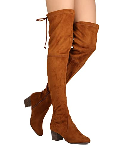 b68ad870161 Breckelle s Women Faux Suede Thigh High Drawstring Chunky Heel Boot GJ89 -  Tan (Size