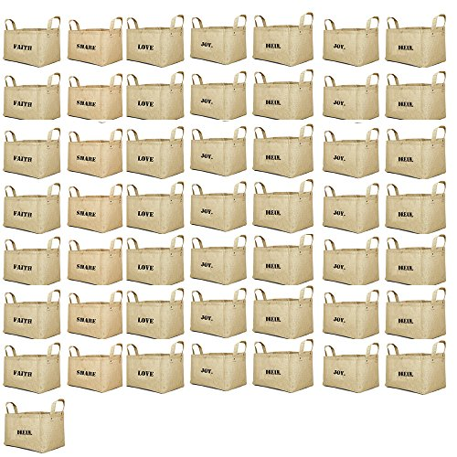 Jute storage baskets kids baby closet organizer bins cube JOY LOVE DREAM FAITH FOREVER SHARE PEACE (PACK OF 50) by SAVON
