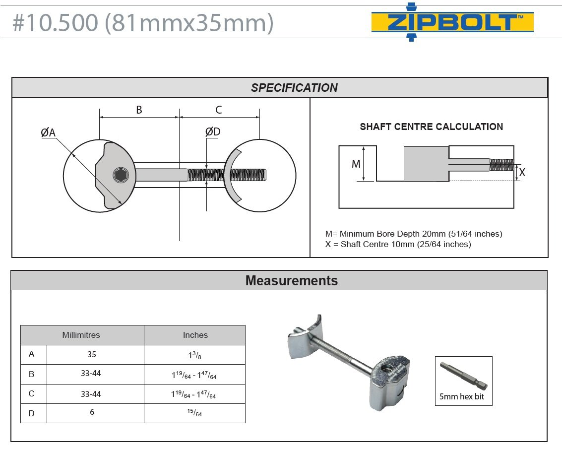 "Zipbolt UT 10.500 80mm x 35mm (3.15"" x 1.38"") Draw Bolt Joint Connector - 20 Pack – Connects Countertops, Tabletops, Panels, Furniture in Seconds – Includes 5mm Hex Bit with Quick Release Shank"