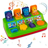 YEEBAY Interactive Pop Up Animals Toy with Music, Animal Sound, Activity Toys for Ages 9-12 - 18 Months &1 Year Old Kids…