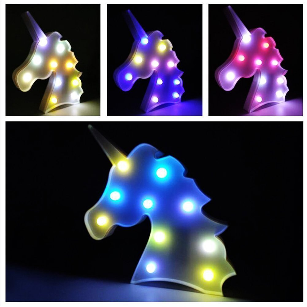 Unicorn Light Unicorn Party Supplies Kids Unicorn Colorful Unicorn Lamp Battery Operated Unicorn Table Decorations for Wall Decoration,Kids' Room,Living Room,Bedroom (Colorful Unicorn) by KiBlue (Image #9)
