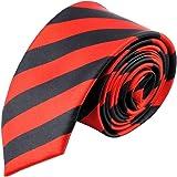 "Hello Tie Unisex Double Color Striped 2"" Skinny Tie Narrow Neckties"