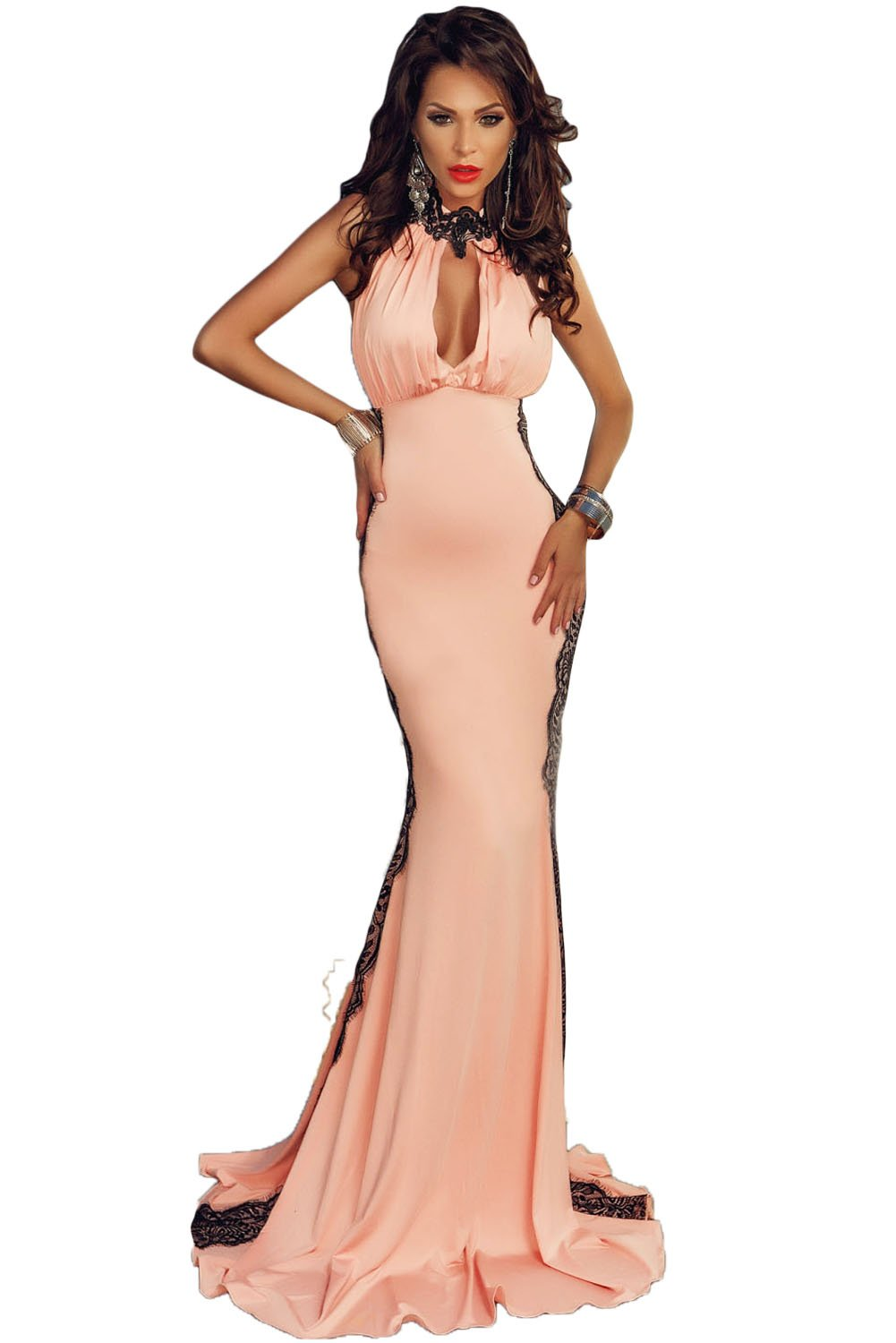 Peach Halterneck Lace Trim Party Gown Prom Cruise bridesmaid evening dress size M UK 10-12