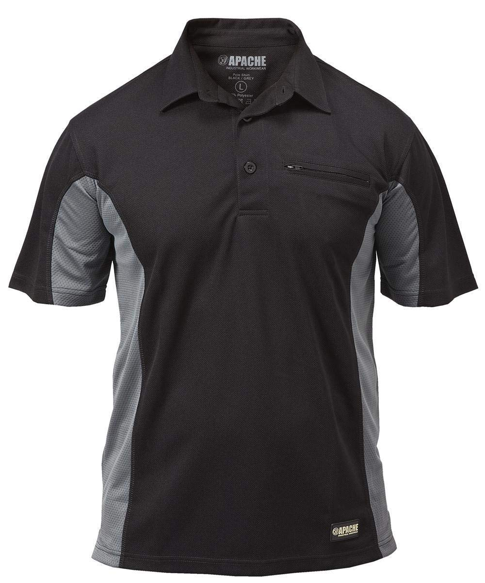 DeWalt Polo Shirt Black Fast-Drying PWS Mens 2 button Trade Pro Work T-Shirt