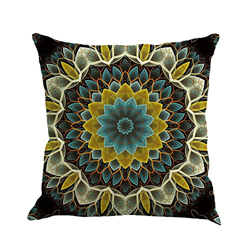 GOVOW Smooth Pillow Protectors Geometry Painting Linen Cushion Cover Throw Pillowcase Sofa Home Decor
