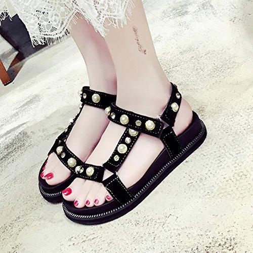 RUGAI-UE Perla de verano sandalias planas zapatos remache inferior grueso Black