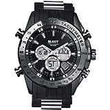 [BLCOT]多機能 腕時計 アナログ&デジタル ビッグフェイス デュアルタイム生日プレゼント 男性 ギフト